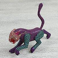 Wood alebrije figurine, 'Wild Jaguar' - Hand Painted Wood Jaguar Alebrije Figurine from Mexico