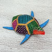 Wood alebrije figurine, 'The Turtle and the Sea' - Multicolored Hand Painted Wood Turtle Alebrije Figurine