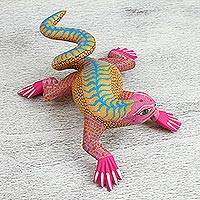Wood alebrije sculpture, 'Pink Iguana' - Pink and Yellow Wood Iguana Alebrije Sculpture from Mexico