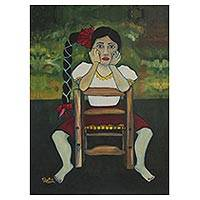 Giclee print on canvas, 'Chayito' - Portrait of a Mexican Girl in a Giclee Print on Canvas
