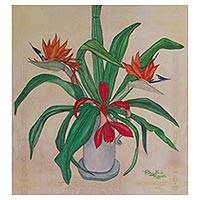 Giclee print on canvas, 'Birds of Paradise' - Mexican Birds of Paradise Still Life Giclee Print on Canvas