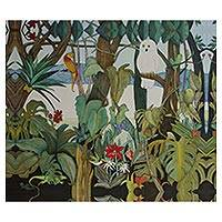 Giclee print on canvas, 'Forest Friends' - Mexican Lake Chapala Nature Scene Giclee Print on Canvas