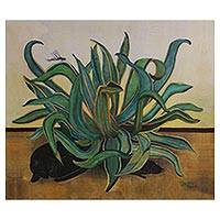 Giclee print on canvas, 'The Maguey' - Black Cats and a Mexican Maguey in a Giclee Print on Canvas