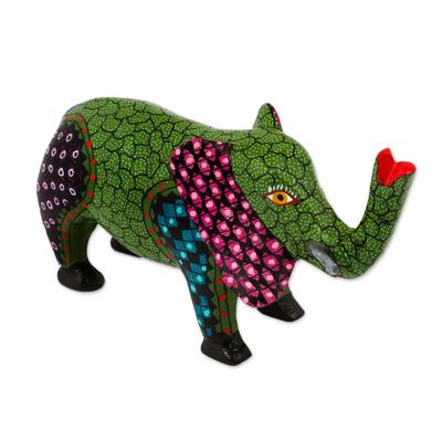 Artisan Crafted Green Wood Elephant Alebrije Figurine