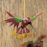 Wood hanging alebrije sculpture, 'Garden Hummingbird' - Handcrafted Wood Hanging Hummingbird Alebrije Sculpture