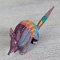 Wood alebrije figurine, 'Kaleidoscopic Armadillo' - Hand Carved Copal Wood Multicolored Armadillo Alebrije