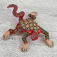 Wood alebrije figurine, 'Amphibian Iguana' - Colorful Handmade Wood Iguana Alebrije Figurine from Mexico