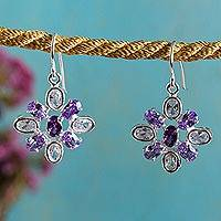 Sterling silver dangle earrings, 'Brilliant Squares' - Sterling Silver and Swarovski Crystal Earrings from Mexico