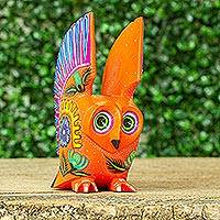 Wood alebrije figurine, 'Vibrant Owl' - Hand Crafted Copal Wood Multi-Colored Orange Owl Alebrije