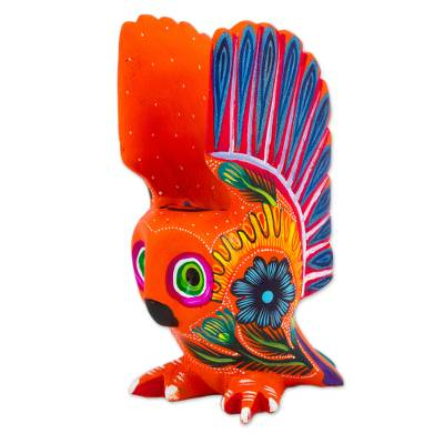 Wood alebrije figurine, 'Vibrant Owl' - Hand Crafted Copal Wood Multi-Colored Orange Owl Alebrije