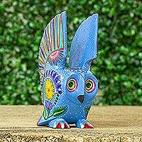 Wood alebrije, 'Lively Owl' - Hand Crafted Copal Wood Multi-Colored Blue Owl Alebrije