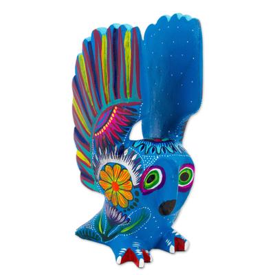 Wood alebrije, 'Lively Owl' - Hand Crafted Copal Wood Multi-Colored Blue Owl Alebrije