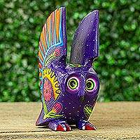 Wood alebrije figurine, 'Mysterious Owl' - Hand Crafted Copal Wood Multi-Colored Purple Owl Alebrije