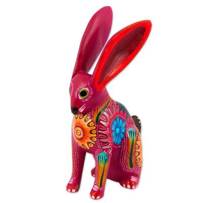 Wood alebrije figurine, 'Jackrabbit' - Hand Crafted Copal Wood Multi-Colored Rabbit Alebrije