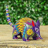 Wood alebrije figurine, 'Armadillo Cheer'