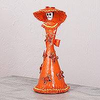 Papier mache and ceramic statuette, 'Death Takes a Sunday Stroll' - Mexican Papier Mache and Ceramic Butterfly Catrina Statuette
