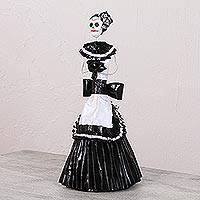 Papier mache and ceramic statuette, 'Catrina in Apron Dress' - Black and White Papier Mache and Ceramic Skeleton Statuette