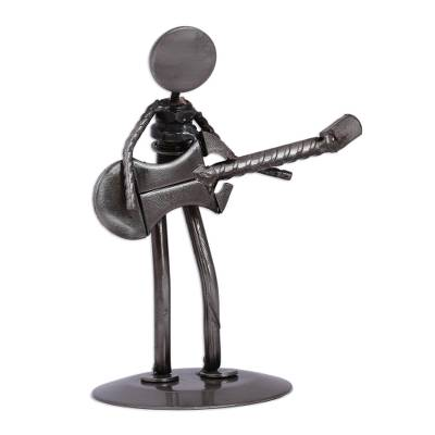 Upcycled metal auto part sculpture, 'Electric Guitarist' - Upcycled Metal Auto Part Guitarrist Sculpture from Mexico
