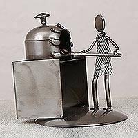 Upcycled metal auto part sculpture, 'Baker' - Upcycled Metal Auto Part Sculpture of a Baker from Mexico
