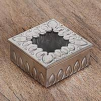 Tin and glass decorative box, 'Fire of My Heart' - Rustic Tin and Glass Decorative Box from Mexico