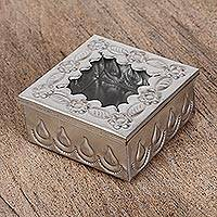 Tin and glass decorative box, 'Natural Drops' - Handcrafted Tin and Glass Decorative Box from Mexico