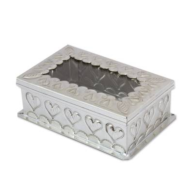 Tin and glass decorative box, 'Heartfelt Memories' - Heart Motif Tin Decorative Box with Glass from Mexico