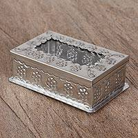 Tin and glass decorative box, 'Floral Journey' - Floral Tin Decorative Box with Glass from Mexico