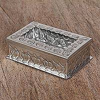 Tin and glass decorative box, 'Recalling Love' - Artisan Crafted Tin and Glass Decorative Box from Mexico