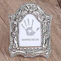 Embossed tin photo frame, 'Shining Memories' (3.5x5) - Handcrafted Ornate Tin Photo Frame (3.5x5) from Mexico
