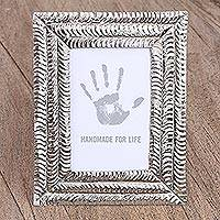Embossed tin photo frame, 'Infinite Happiness' (3.5x5) - Handcrafted Tin Photo Frame (3.5x5) from Mexico