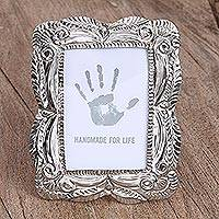 Embossed tin photo frame, 'Happy Moment' (3.5x5) - Handcrafted Rustic Tin Photo Frame (3.5x5) from Mexico
