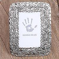 Embossed tin photo frame, 'Unforgettable Moment' (4x6) - Handcrafted Floral Tin Photo Frame (4x6) from Mexico