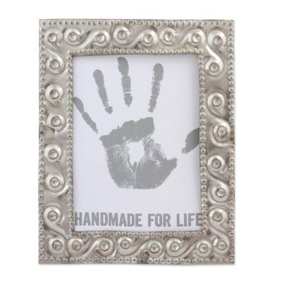 Embossed tin photo frame, 'Valuable Moment' (2.5x3) - Handcrafted Rustic Tin Photo Frame (2.5x3) from Mexico