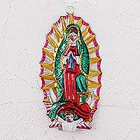 Tin wall decor, 'Miracle of Guadalupe' - Handmade Tin Virgin of Guadalupe Wall Hanging from Mexico