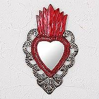 Tin wall mirror, 'Image of My Heart' - Mexican Artisan Crafted Tin Wall Mirror Accented with Red