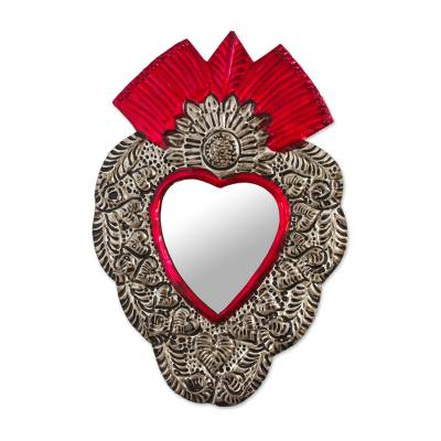 Tin wall mirror, 'The Heart of Tradition' - Mexican Repousse Style Tin Wall Mirror with Red Accents
