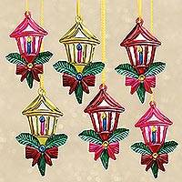 Tin ornaments, 'Candle Lights' (set of 6) - Mexican Hand Painted Tin Lantern Ornaments (set of 6)