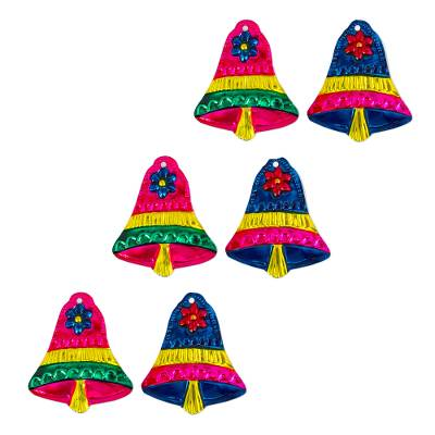 Mexican Hand Crafted Tin Christmas Bell Ornaments (set of 6)