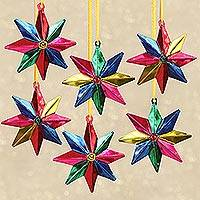 Tin ornaments, 'Guiding Stars' (set of 6) - Mexican Artisan Crafted Tin Star Ornaments (set of 6)