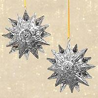 Tin ornaments, 'Heavenly Body' (6 inch, pair) - 2 Mexican Handmade Hanging Tin Star Ornaments (6 inch)