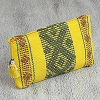 Cotton cosmetic bag, 'Daffodil Woman' - Handwoven Cotton Cosmetic Bag in Daffodil from Mexico