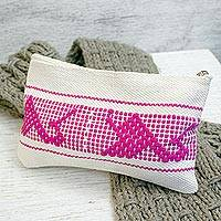 Cotton cosmetic bag, 'Fuchsia Life' - Cotton Cosmetic Bag with Fuchsia Motifs from Mexico
