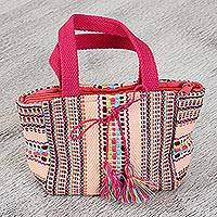 Cotton handbag, 'Sweet Melon' - Handwoven Striped Cotton Handbag from Mexico