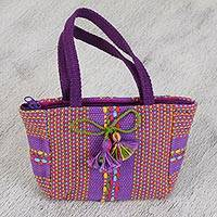 Cotton handbag, 'Mini Rainbow' - Cotton Handbag with Multicolored Stripes from Mexico