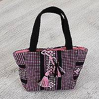 Cotton handbag, 'Cute and Chic' - Cotton Handbag in Pastel Pink and Black from Mexico