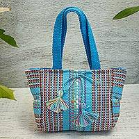 Cotton handbag, 'Sky Blue Stripes' - Handwoven Striped Cotton Handbag in Sky Blue from Mexico