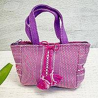 Cotton handbag, 'Chic Pink' - Handwoven Cotton Handbag in Pink from Mexico