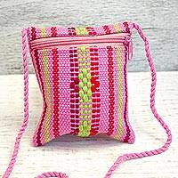 Cotton cell phone bag, 'Bubblegum' - Mexican Artisan Crafted Striped 100% Cotton Cell Phone Bag