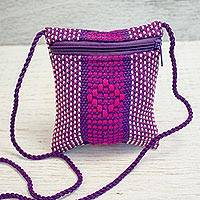 Cotton cell phone bag, 'Purple Diamonds' - Hand Woven 100% Cotton Cell Phone Bag with Diamond Motif