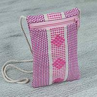 Cotton cell phone bag, 'Joyful Rose' - 100% Cotton Pink and White Cell Phone Bag from Mexico